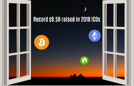 $9.5 billion raisedin 2018 by ICOs
